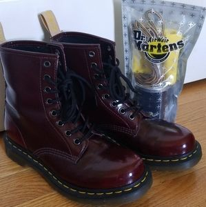 Dr. Martens Vegan Leather Lace Up Boots Wi…